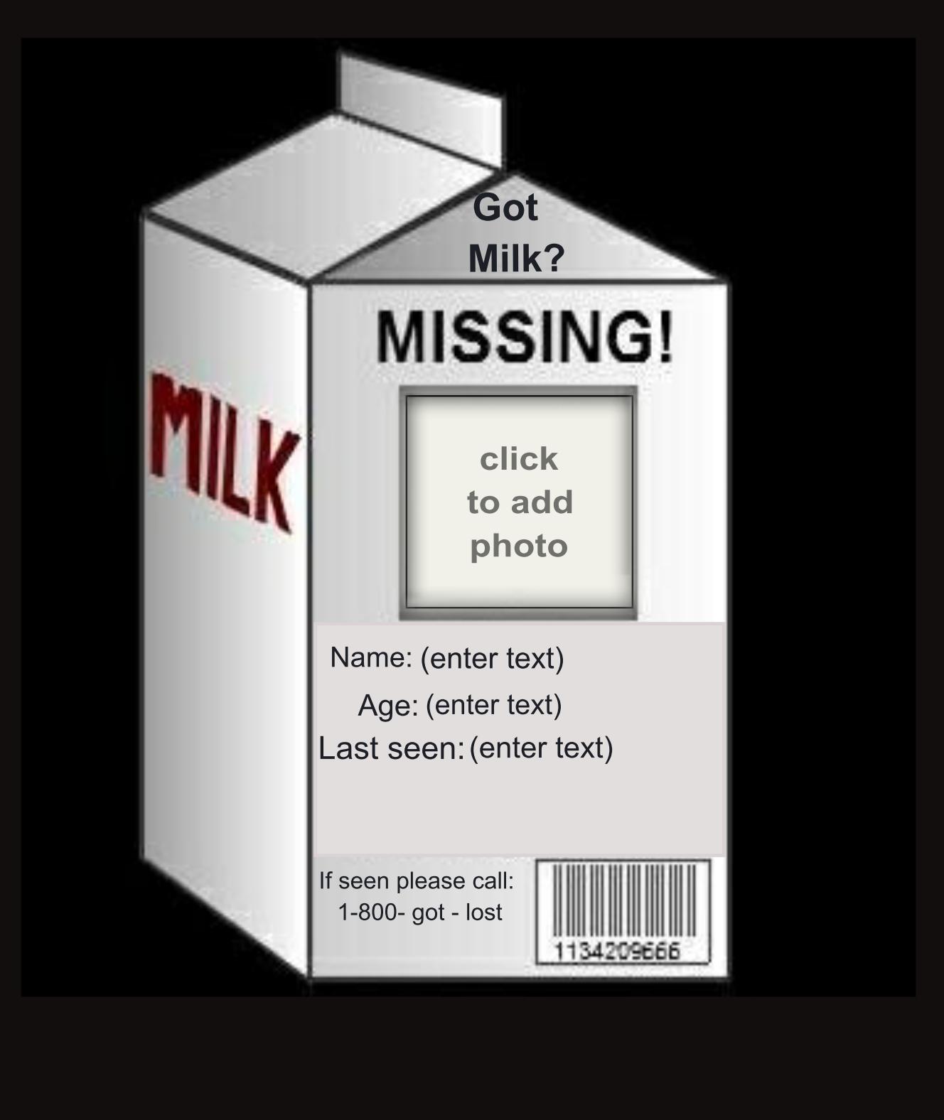 Milk Carton Missing Picture Frame | lajulak.org