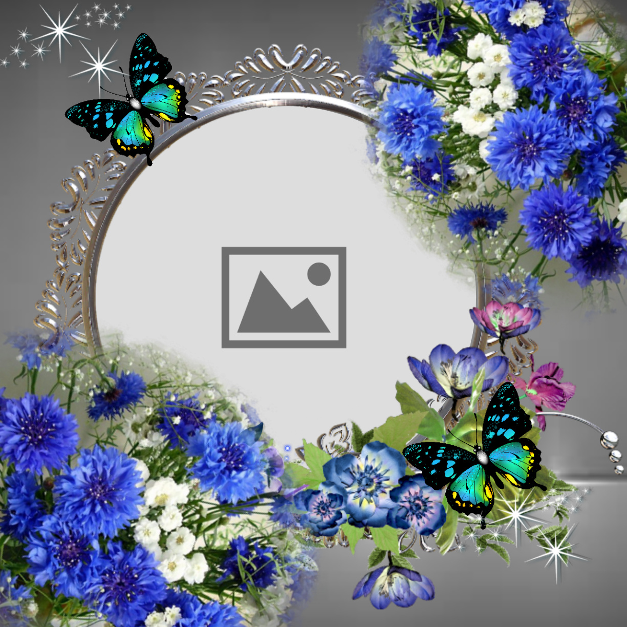 Imikimi Zo - Picture Frames - Round frame with blue flowers - norafg62