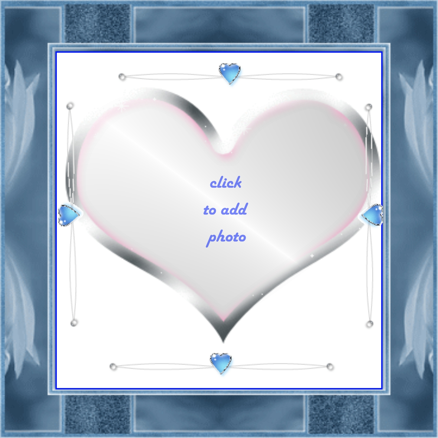 Imikimi Zo - I Love You Frames - Silver Heart in Blue Frame love ...