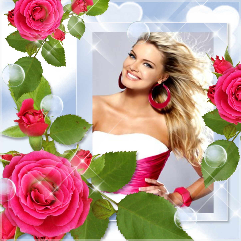 Imikimi Zo - I Love You Frames - pink rose rose flower love Frame ...